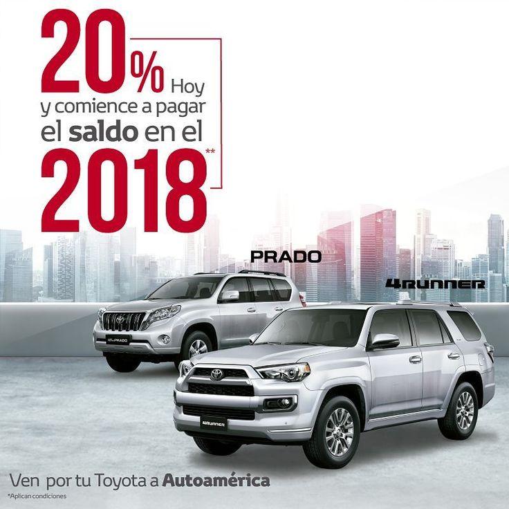 ¡Este mes podrás comprar el carro de tus sueños con este súper plan!  Llévate tu Toyota Prado o una 4Runner pagando el 20% de cuota inicial y el saldo en 2018. https://autoamerica.com.co/fiananciacion-prado-4runner/