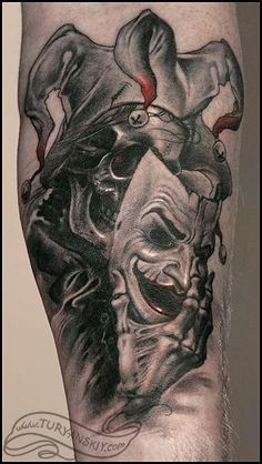 Grey Ink Evil Jester Tattoo On sleeve