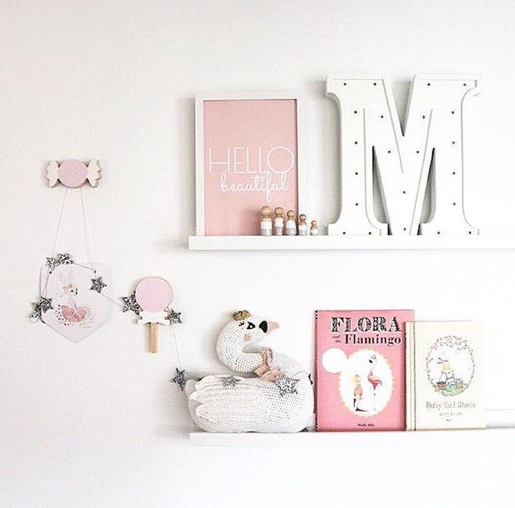 Pretty pink & white decor for a girls room or baby nursery