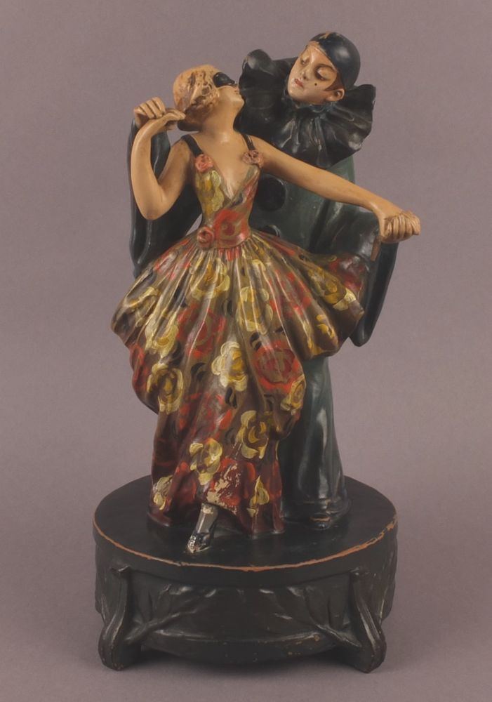Italian Sebelin Art Deco Terra Cotta Statue Dancing Couple Pierrot And Girl Artdeco Sebelin
