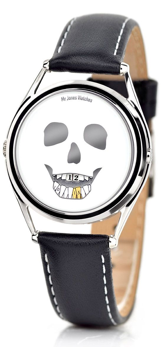 Mr. Jones Last Laugh Mechanical Automatic Watch. This watch forgoes the customary hour and minute hands, instead the time is displayed on a skull's teeth. The upper row of teeth show the hours and the lower show the minutes.