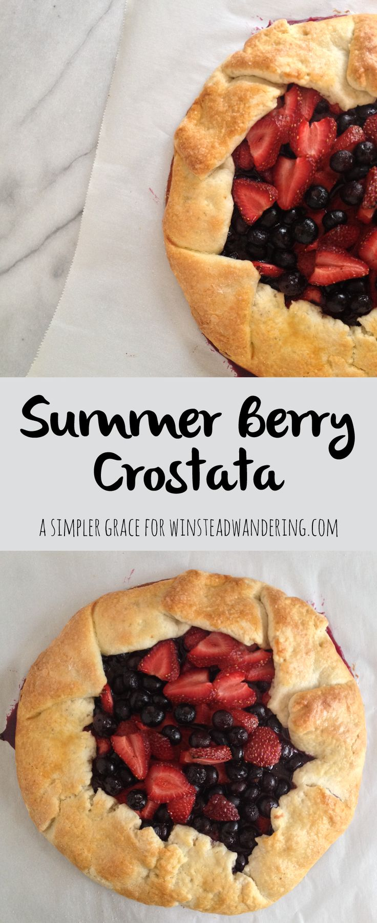 This summer berry crostata recipe is a rustic homemade crust packed with juicy strawberries, plump blueberries, and the perfect complement of spices.