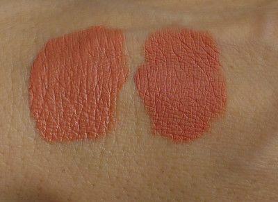 Dermacol Matte Mania, odstín 13 (vlevo těsně po nanesení, vpravo po zaschnutí)