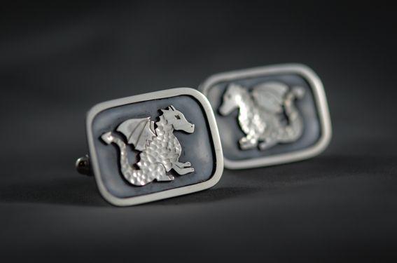 Sterling Silver dragon cufflinks