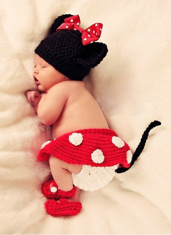Handmade Crochet Mickey Mouse Baby Hat Diaper Cover this would be so cute!  with a white onesie, of course.