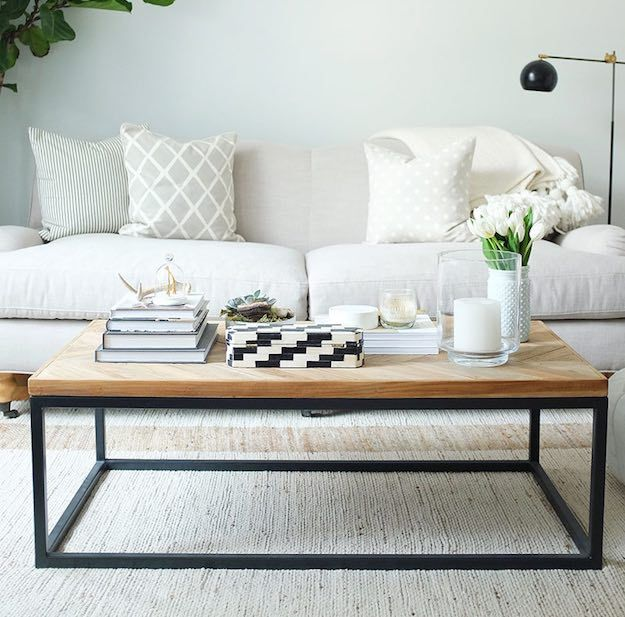 Wood And Black Narrow Coffee Table | 15 Narrow Coffee Table Ideas For Small  Spaces