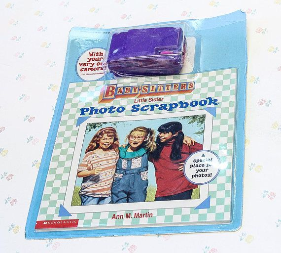 New in package: A Baby-Sitters Club Little Sister Photo Scrapbook by Ann M. Martin, that also comes with a little purple film camera! (no film included). There's a bit of wear on the packaging, but overall is in excellent unused condition. From Scholastic, 1996. Description: Karen