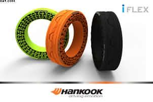 Another tyre company to test out non-pneumatic tyres is South Korean tyre company Hankook tyres. Hankook Tyres non-pneumatic tyres have been tested at speed#tyres