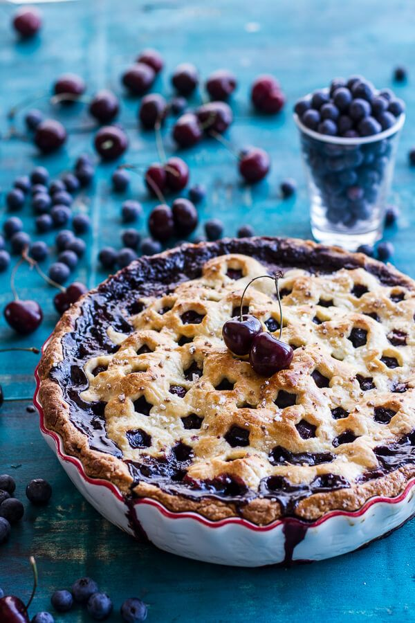 Vanilla Bourbon Cherry-Blueberry Pie. I made this without the blueberry and it was soooo good! The crust held up nicely with the addition of the egg yolks.