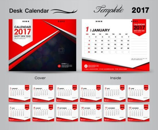 Desk calendar 2017 vectors template 04 | world connection วางใจใน ...