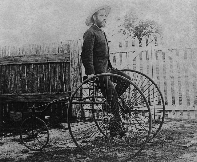 Queensland cyclist, R. James on a rear steering rotary tricycle, ca. 1884 by State Library of Queensland, Australia, via Flickr