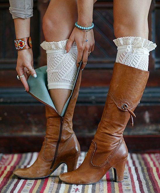 Ivory Lace Ruffle Boot Cuffs (Three Bird Nest)