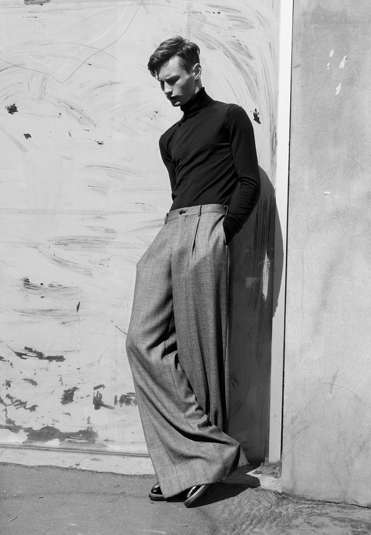 Exaggerated wide leg pants on men is a must!