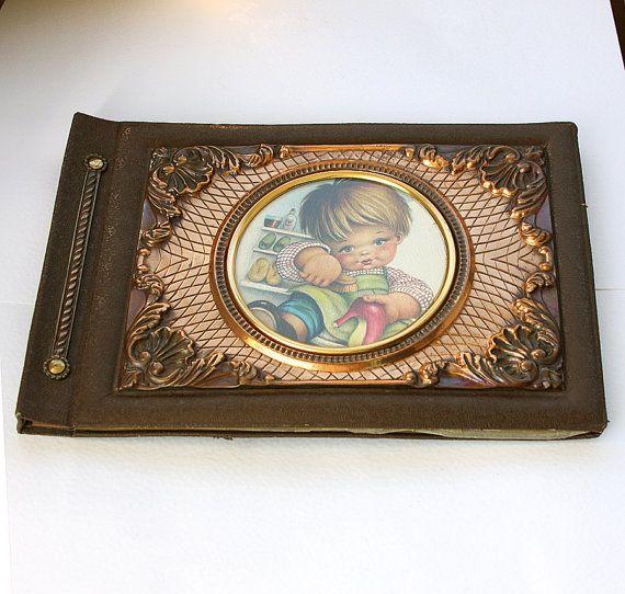Vintage photo album Copper relief picture album by VintageCorner42