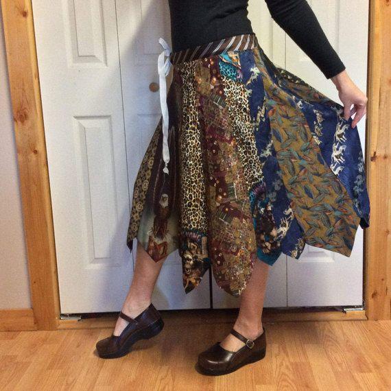 Zijde stropdas Midi rok/Upcycled kleding/gerecycled stropdas