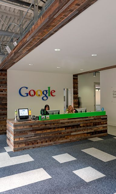 FLOR / House Pet - Multiple Colors / Google / Mountain View, CA / From the wood panels down to the custom carpet made with our House Pet carpet squares, Google's office space is one to be envied.
