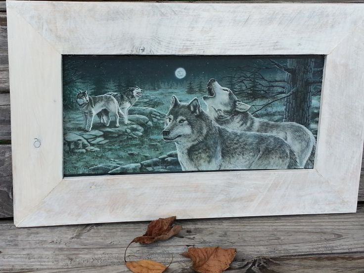 wolf print with rustic frame wood framed by teestransformations 2800 - Wolf Picture Frames