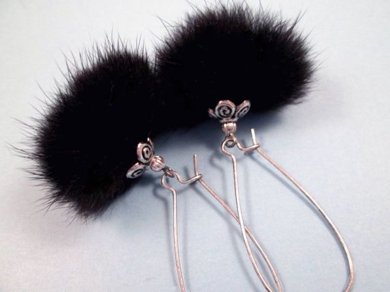 REAL Fur Earrings Oxidized Silver and Black Mink by justEARRINGS