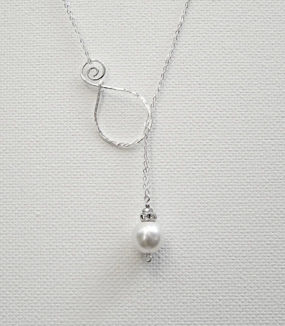 Great idea.   Pearl Pendant Sterling Silver Necklace Lariat Necklace Swarovski Pearl Necklace Wedding Necklace Bridal Necklace via Etsy