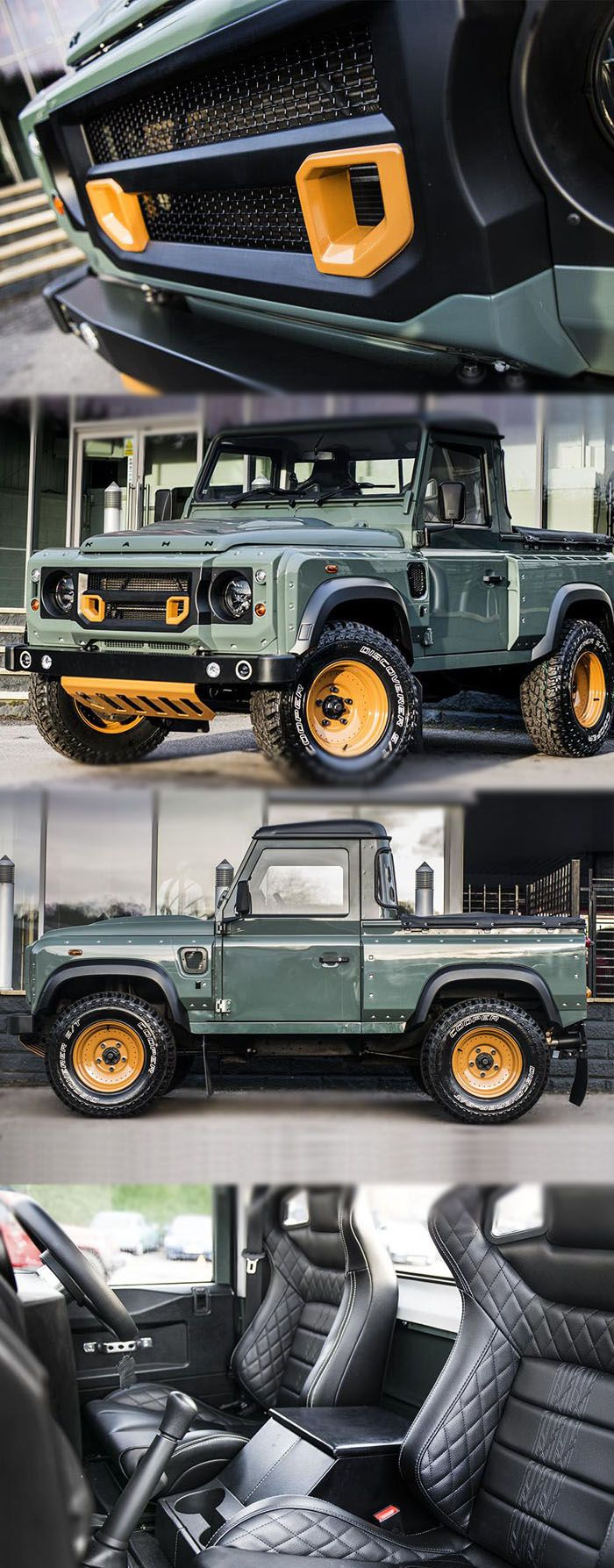 Kahn Design Customised Land Rover Defender Pick-Up For more deitail:https://mbgearboxes.wordpress.com/2016/03/10/kahn-design-customised-land-rover-defender-pick-up/
