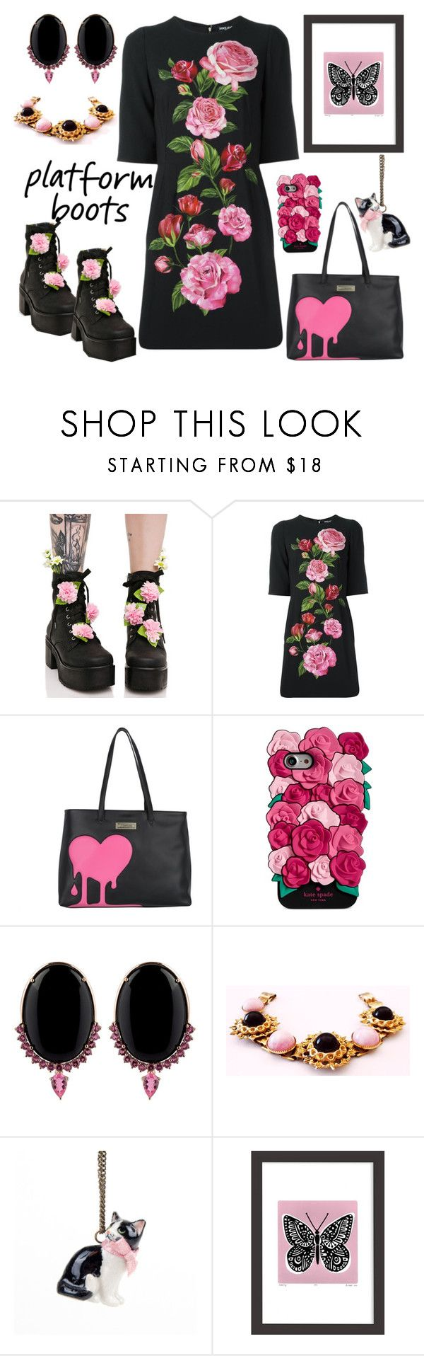 """Girls' Night Out-Platform Boots"" by yournightnurse ❤ liked on Polyvore featuring Sugarbaby, Dolce&Gabbana, Moschino, Kate Spade, Joana Salazar, And Mary, Lu West and PlatformBoots"