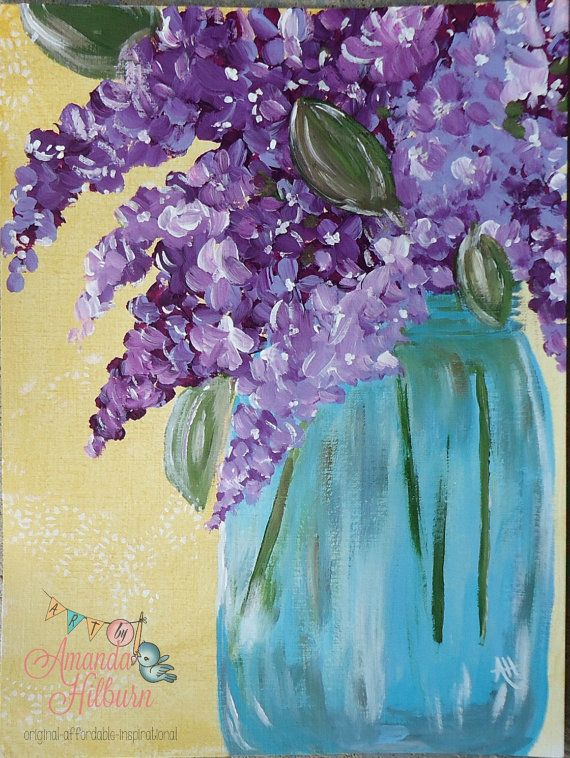 Flower Painting Lilacs in Mason Jar by artbyamandahilburn on Etsy, $70.00