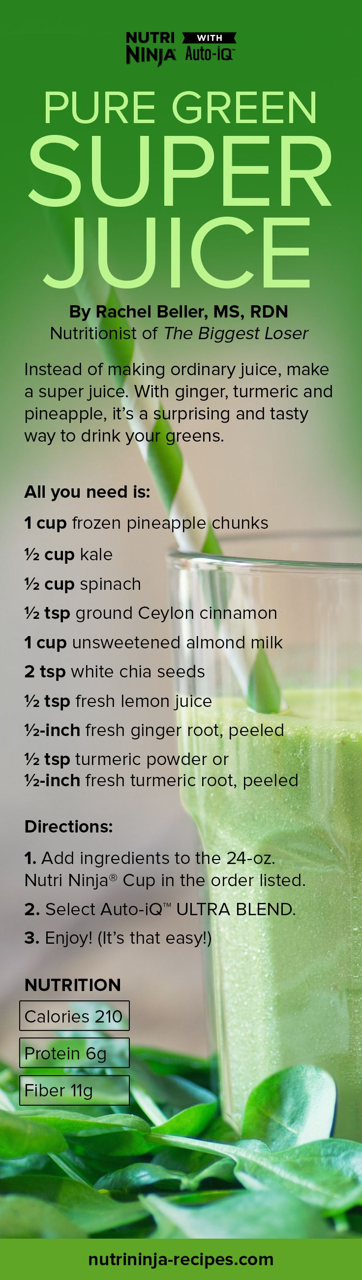 Turmeric, ginger, chia seeds and more turn a glass of pineapple and leafy greens into a 210-calorie super juice. Give it a try.