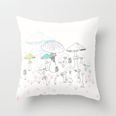 Mushrooms Throw Pillow by Vibeke hoie | Society6  #mushrooms #drawing #sopp #illustrator