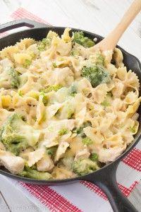 Pollo, Broccoli, & Pasta INGREDIENTES 2 pechugas de pollo deshuesadas y medianas 12 oz congelado de brócoli fresco 1 (16oz) box of pasta 1 lata de crema casera de sopa de pollo condensada ½ taza de queso rallado sal y pimienta, al gusto En una sartén coloque las pechugas de pollo y cocine a fuego medio durante unos 4-5 minutos por cada lado hasta que esté hecho.