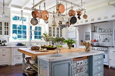 Pot rack: Butcher Block, White Kitchen, Hanging Pot, Dream House, Kitchen Ideas, Copper Pots, Dream Kitchens, Island