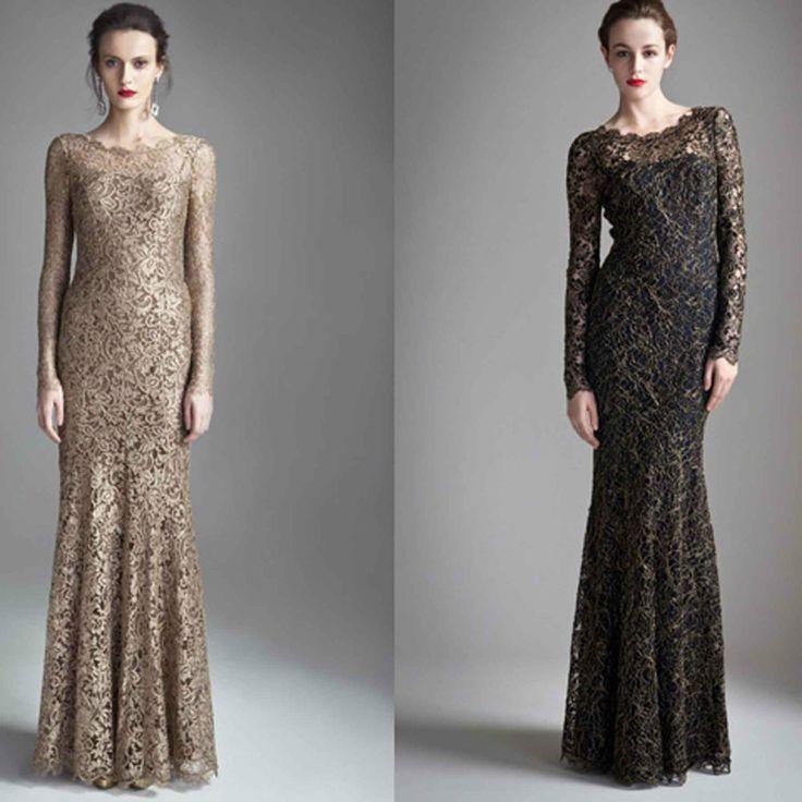 Elegant Blacl Lace Long Sleeves Formal Wedding Evening Full Length Prom Dress #Beautifly #Formal