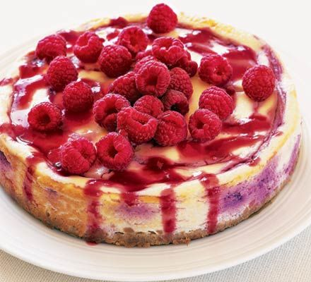 really quick and easy recipe: baked cheesecake from BBC GoodFood - blueberries work just as well