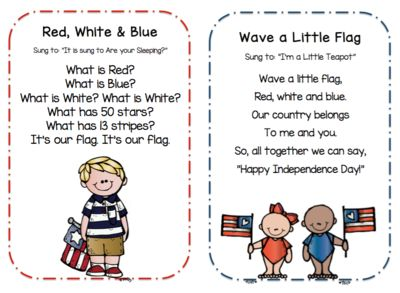 Preschool Songs for 4th of July from Preschool Printables on TeachersNotebook.com (9 pages)