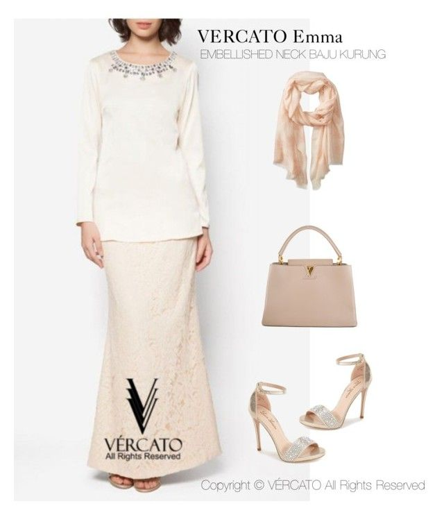 """VERCATO Emma Baju Kurung Moden""in champagne and also available in dusty pink. SHOP NOW: http://www.vercato.com/baju-kurung-moden-embellished-neck-vercato-emma-champagne-beige"