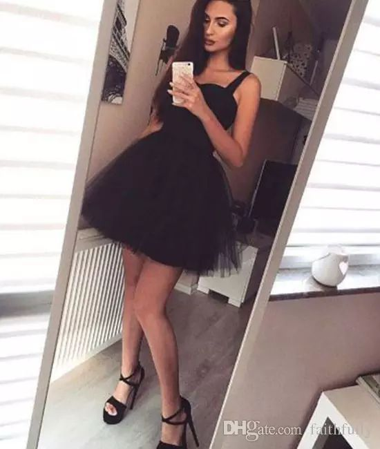 Stylish A Line Homecoming Dresses 2017 Spaghetti Straps Black Cocktail Dresses Tulle Short Party Wear Dresses Sexy Cheap Dresses White Dresses Online From Faithfully, $95.48| Dhgate.Com
