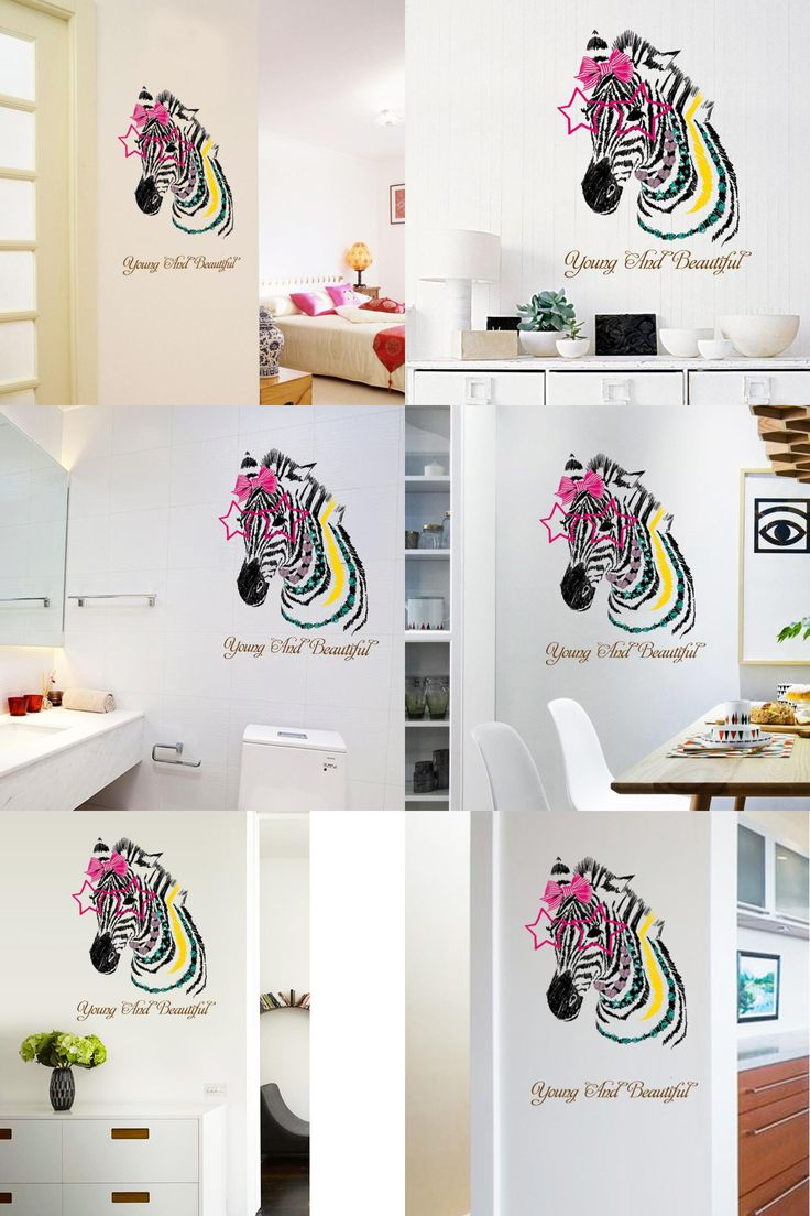 [Visit to Buy] Brand 2017 Wall Stickers Cute Zebra Bedroom Living Room Walls Sticker Decal Happy Gifts Mural DIY Pegatinas De Pared Home Decor #Advertisement