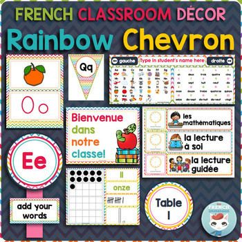This French decoration for classrooms with a rainbow chevron theme includes all the essential pieces of a functional, useful, and beautiful decor: calendar set, behavior chart, alphabet posters, colors, numbers, 2D shapes, word wall headers and cards, and so much more!