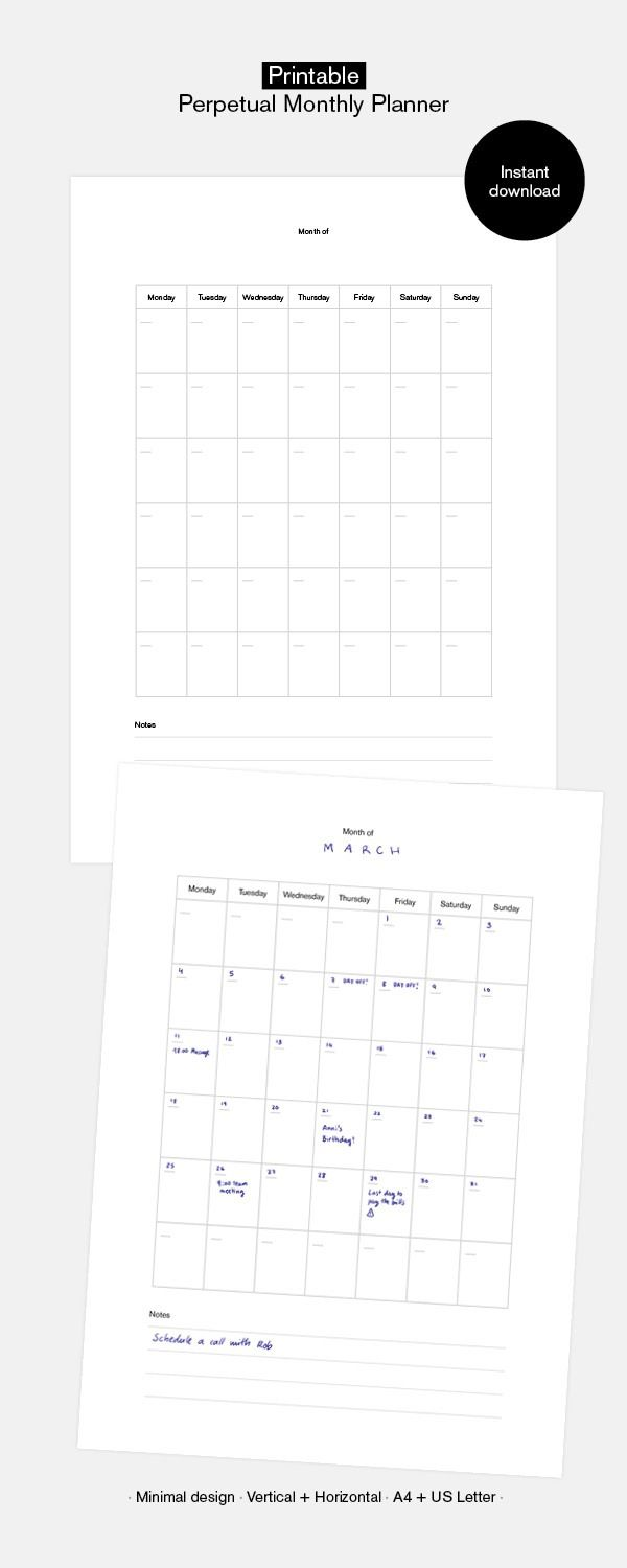 Monthly Perpetual Calendar Printable Month At A Glance A4