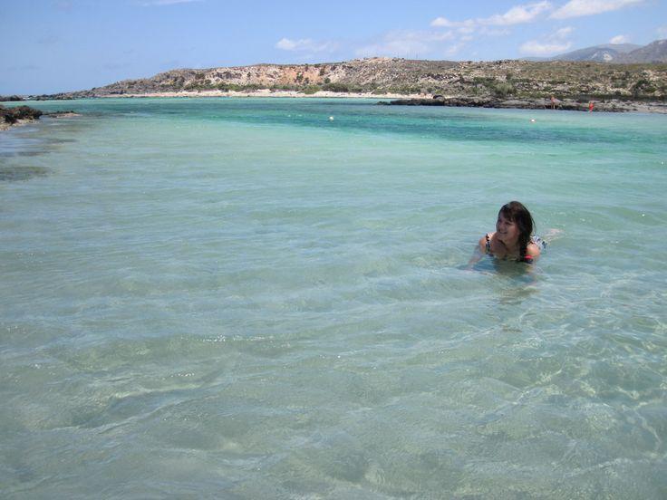 Swimming in Elafonisi beach. Crete, Greece. Taken by my husband Olav Lepsøe.