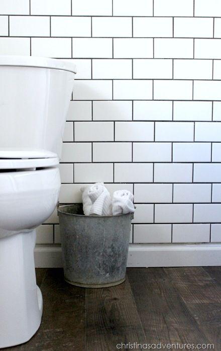 Subway tile small bathroom