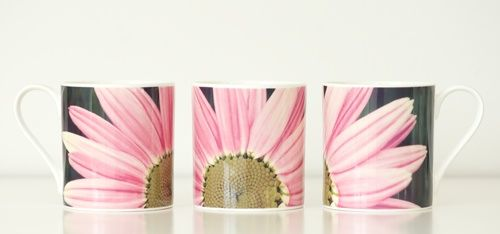 "The mug ""Pink Flower"" designed by Photographer Pernille Westh. The design is also available as a round 30 cm cushion."