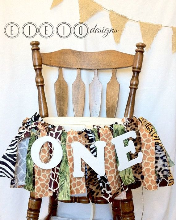 SAFARI birthday themed high chair banner - seriously LOVE all of those animal prints together!
