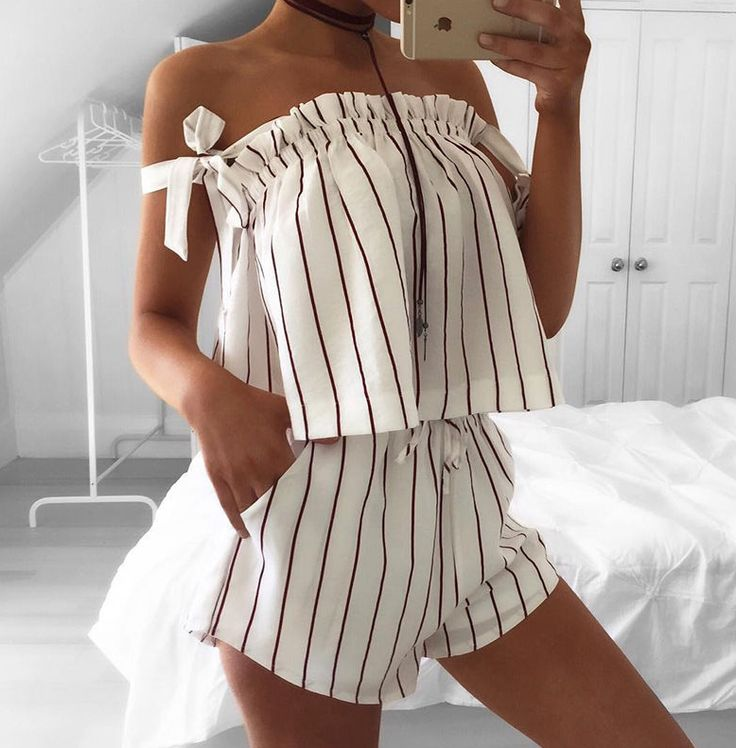'MAISEY' Striped Off The Shoulder Playsuit