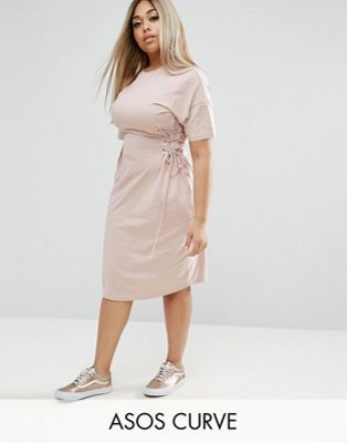ASOS CURVE T-Shirt Dress with Corset Detail