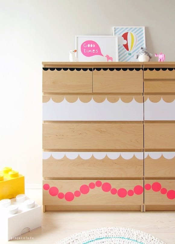 DIY IKEA Hacks for Kids' Rooms: a MALM dresser got dressed up with fun shape stickers