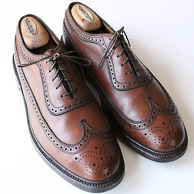 VINTAGE V-Cleat Florsheim Imperial Brown Leather Wingtip Balmoral Shoes USA 9D