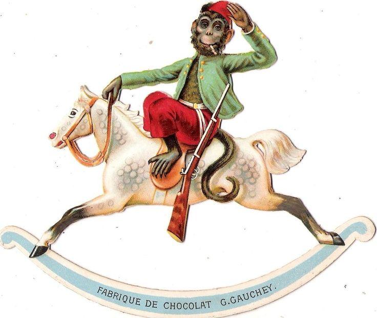 Oblaten Glanzbild scrap die cut chromo Affe 15cm  rocking horse Schaukel pferd