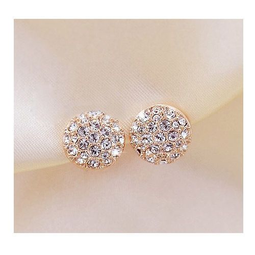 Engagement Wedding Bride Crystal Round Ear Stud Earrings 1 Pair Gold Jewelry New