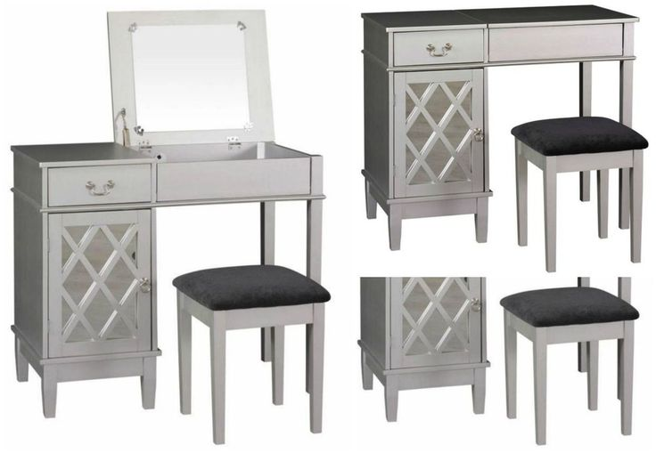 Bedroom Vanity Set Wood Table Stool Console Desk Storage Modern Makeup Dressing #Linon #Modern