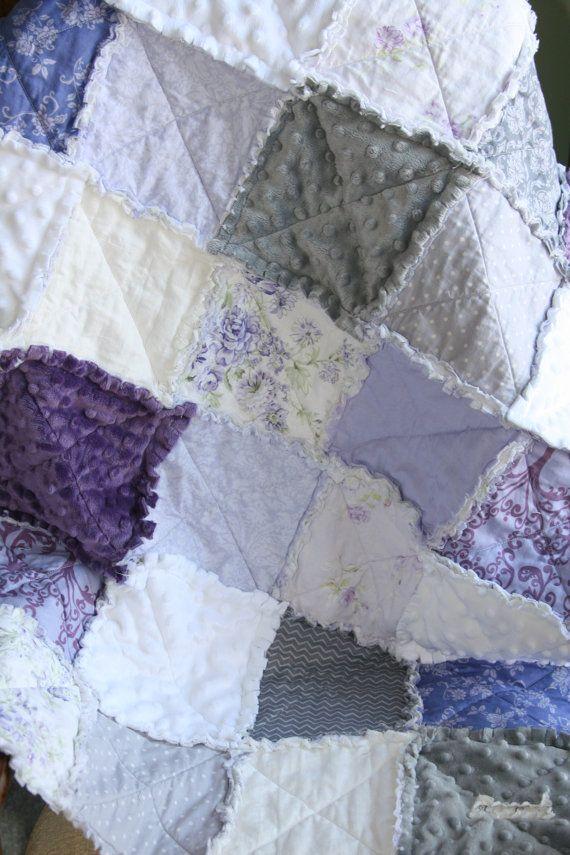 Shabby Chic Baby Girl Rag Quilt Purple Grey Nursery Ready to Ship